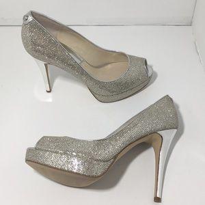 Michael Kors Platinum Silver Platform Heels Pumps